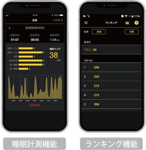 睡眠ランキング アプリ画面